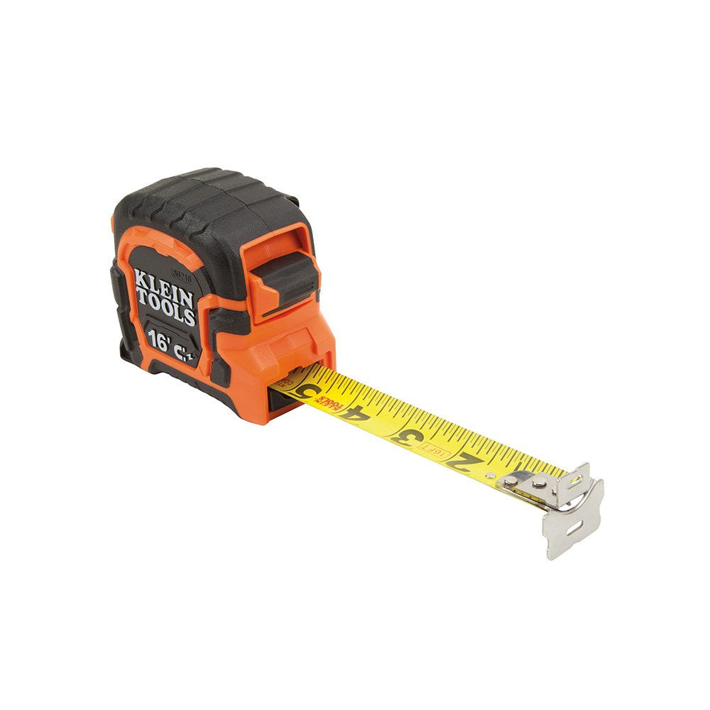 Tape Measure 16 Foot Double Hook Magnetic with Finger Brake Easy to Read Bold Lines Klein Tools 86216