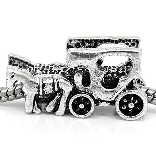 260 Wagon - Horse Carriage Cart Wagon Buggy Amish Charm for Silver European Bead Bracelets id-260
