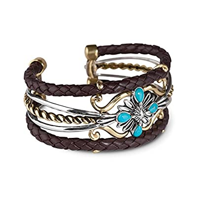 American West Jewelry - Sterling Silver, Blue Turquoise, Brass and Leather Cuff- Size Small to Large - Country Couture Collection