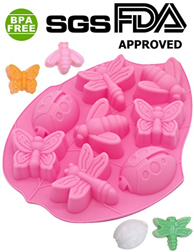 Insect Shape Kids Party Silicone Cake Molds Decoration Fondant Baking Mold (Lady Bugs,Butterflies,Bees and Dragonflies,Random Color)