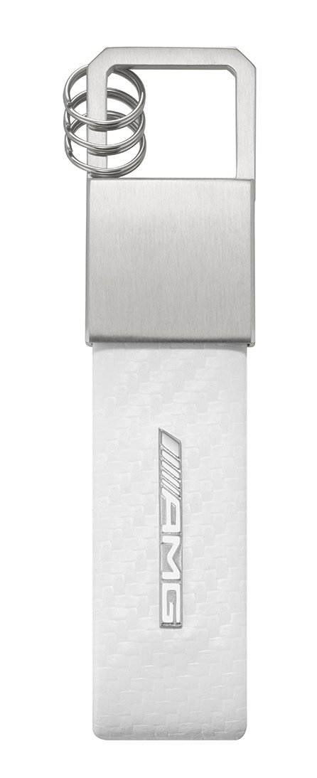 Mercedes Benz Lifestyle Collection AMG Leather Key Ring Keychain Keyring (White)