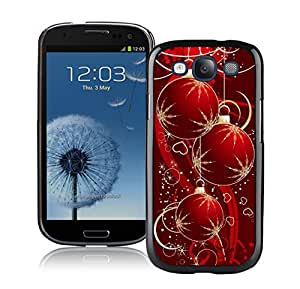 S3 Case,Red Snowflakes Christmas Decoration Silicone Black Samsung Galaxy S3 Case,S3 I9300 Protective Case