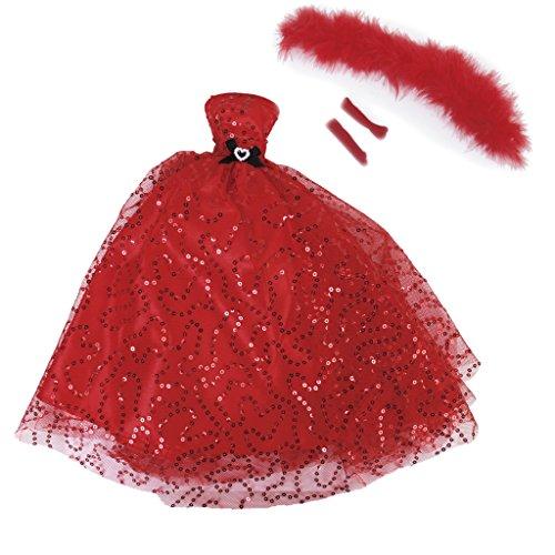 Robe Paillettes sans Bretelles avec Gants Châle pour Poupée Faveur Nuptiale de Noce - Rouge