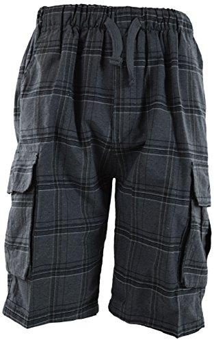 Elastic Waist Plaid Shorts - ChoiceApparel Mens Checkered Plaid Shorts with Elastic Waist Band (Many Patterns) (XL, 37-Charcoal)