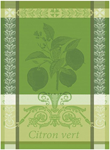 Garnier Thiebaut Towel (Garnier Thiebaut, Citron Vert (Lime) French Jacquard Kitchen Towel, 100 Percent Cotton, 22 Inches x 30 Inches)