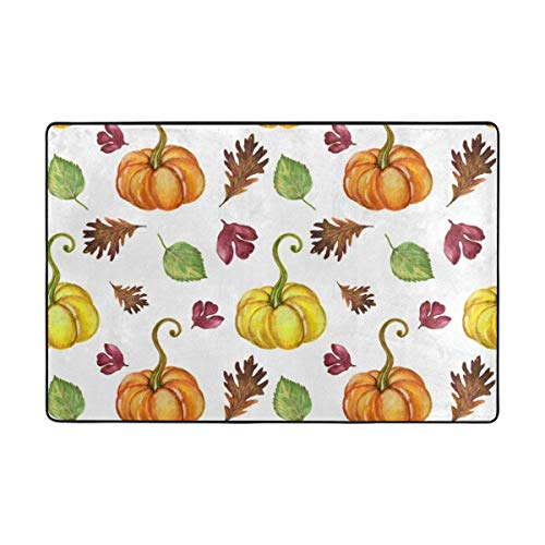 Play Mat for Kids - Watercolor Autumn Pumpkin Area Rug Carpet Nursery Rug Dining Room Home Bedroom Floor Mat 3x2 Feet - Baby Mats for Playing/Crawling