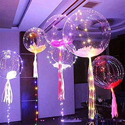 18 Inch 5 PCS Led Light Up BoBo Balloon Purple Lights,Fillable Transparent Balloons with Helium, Great for Christmas Party, House Decorations, Indoor And Outdoor events Wedding and Party Decor(purple): Home & Kitchen