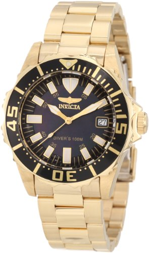 Invicta Women's 10626 Pro Diver Black Mother-Of-Pearl Dial 18k Gold Plated Watch