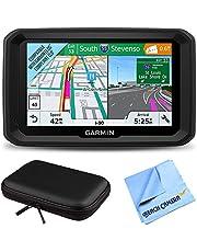 "Garmin 5"" GPS Navigator for Trucks & Long Haul (010-01858-02) 580LMT-S Bluetooth Voice Activated Live Traffic North America Lifetime Maps Bundle with Hard EVA 7"" Case & Microfiber Cloth"