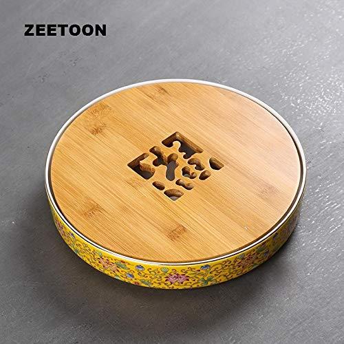 HOT- Tea Trays - Chinese Palace Style Qianlong Vintage Color Enamel Porcelain Tea Tray Tea Set Water Storage Plate Cup Flower Pot Holder - 1 PCs from SNOWMAN