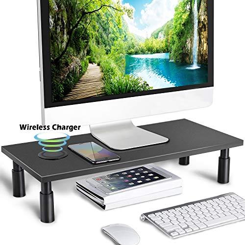 (Monitor Stand Riser Adjustable Height Storage Organizer Computer, iMac, Printer, Laptop, Desk Wireless Charger, Black IMtKotW)