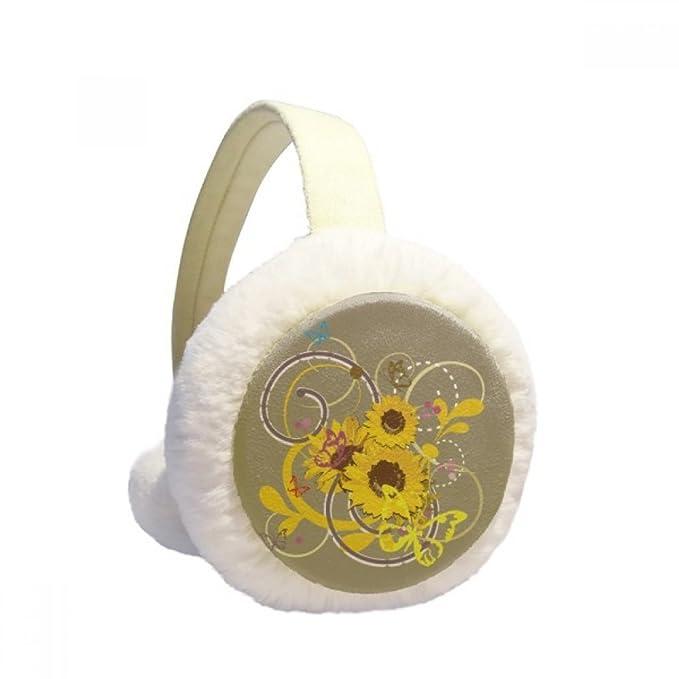 Plant Flower Sunflower Illustration Winter Earmuffs Ear Warmers Faux Fur Foldable Plush Outdoor Gift