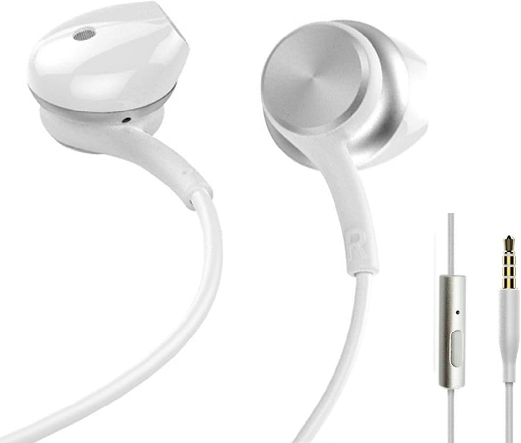 Leiqin in Ear Headphones with Mic Wired Magnetic Earphones Tangle Free Earbuds Compatible for 3.5mm Smartphones Tablets Laptops PC-White