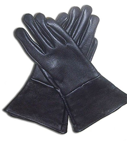 [Leather Gauntlet Gloves Black Large Long Arm Cuff] (Storm Costume Cosplay)