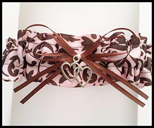 SEXY Pink And Brown Damask Wedding Keepsake Bridal Garter - Double Heart Charm Garters