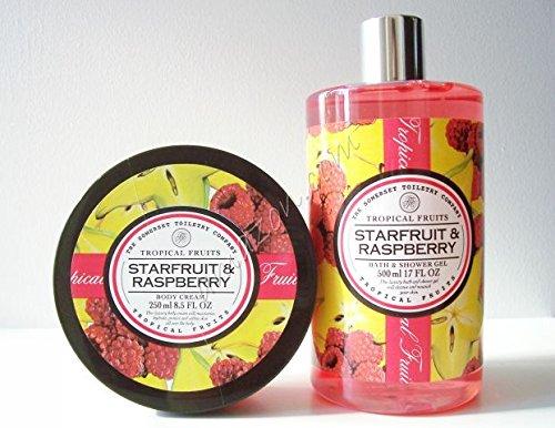 Somerset Toiletry Tropical Fruits Body Cream and Bath & Shower Gel (Starfruit & Raspberry)