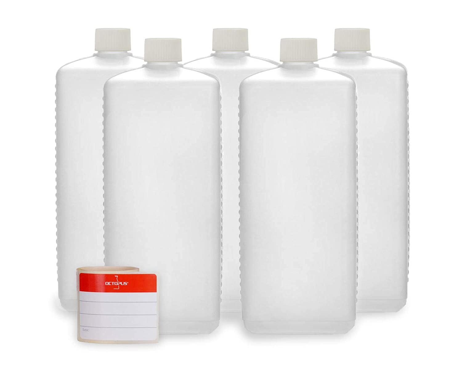 5 x 1000 ml Octopus plastic bottles, HDPE plastic bottles with white screw caps, empty bottles with white screw caps, square bottles incl. 5 labels Octopus Concept GmbH PLF1000-S1-W