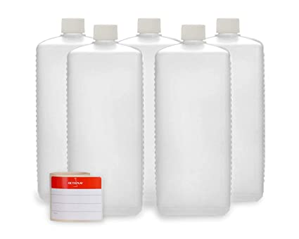 5 botellas de plástico de Octopus de 1000 ml, botellas de plástico de HDPE con