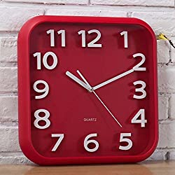 gerewe 12-inch modern minimalist Lounge Wake up Clock Square Creative 3D Stereo Stereo Digital House linked to the clock (Color red)