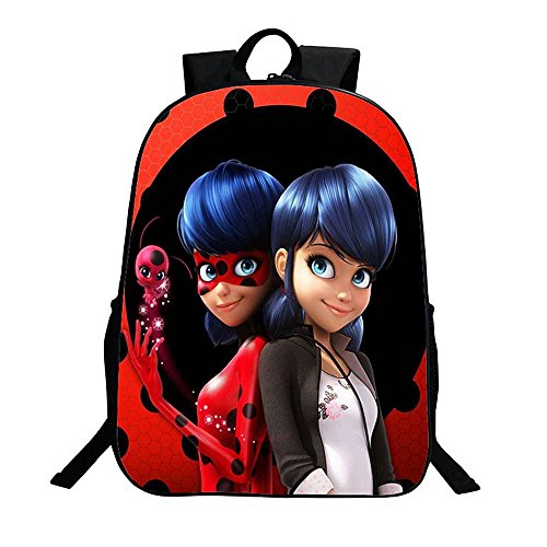 Lady Bug Backpack 16Inch Girls Marinette Cosplay School Shoulder Bag Daypack