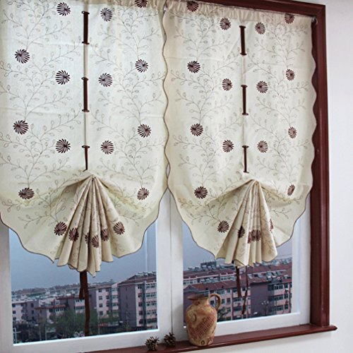 Roman Shades Dark Khaki Daisy Embroidered Cotton Handmade Tie-Up Window Curtain 25-Inch by 57-Inch, Beige