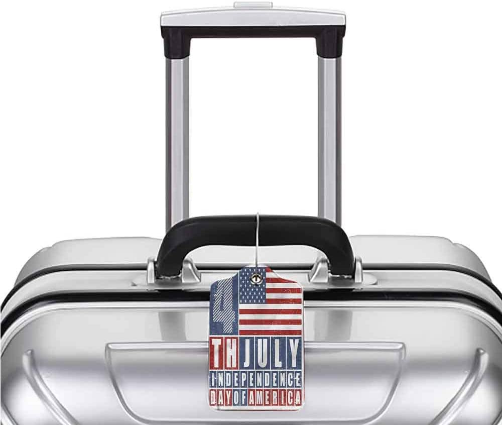 Printed Luggage Tag Full Back Privacy Cover 4th of July Bald Eagle Portrait 1,2 /& 4 Pack Luggage Suitcase Tag