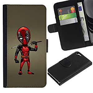 LASTONE PHONE CASE / Lujo Billetera de Cuero Caso del tirón Titular de la tarjeta Flip Carcasa Funda para Apple Iphone 5 / 5S / Samurai Sword Dead P Superhero