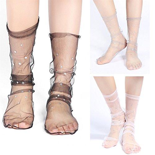 KESEE Clearance Stocks, Women Fashion Glitter Star Soft Mesh Sock Transparent Elastic Sheer Ankle Sock Summer Thin Socks