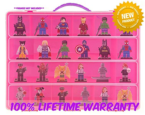 Dimensions Carrying Case - Stores Dozens Of Figures - Durable Toy Storage Organizers By Life Made Better - Pink (Disney Birth Sampler)