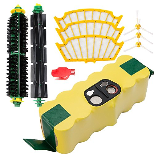 efluky 3.0Ah Ni-MH Replacement Roomba Battery + Replacement Accessory Part Kit for iRobot Roomba 500 Series 500 510 530 535 540, 550 560 561 570 580 585 595- a set (Roomba 550)