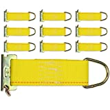 DC Cargo Mall 10-Pack E-Track Rope Tie-Offs, 2' x 6' Yellow Rope Tieoff Cargo Tie-Downs w/Etrack Spring Fittings for Load Securement Tiedown in Pickups, Trailers, Trucks, Boats, Vans, Cars