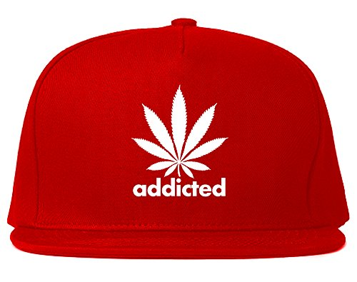 Addicted-Weed-Leaf-Marijuana-Snapback-Hat-Cap-Red