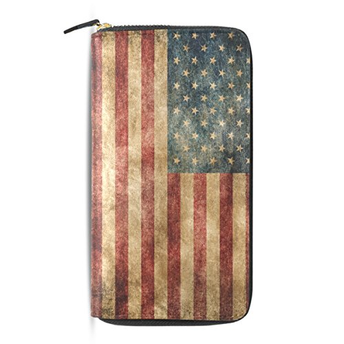 Usa Bag Wallets Long Zip Vintage Around Flag Black American Wallet Leather Retro pu Purse Clutch PwUxRqEX