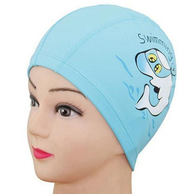 Generic Unisex niños Kids transpirable gorro de natación impermeable cuidado del pelo protección para los oídos gorro de natación poliéster Cartoon Dolphin ...