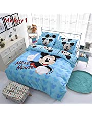 DSHUJC 4 in 1 Flat Bed Sheet Quilt Cover Bedding Set Mickey Mouse Single/Queen For Kids