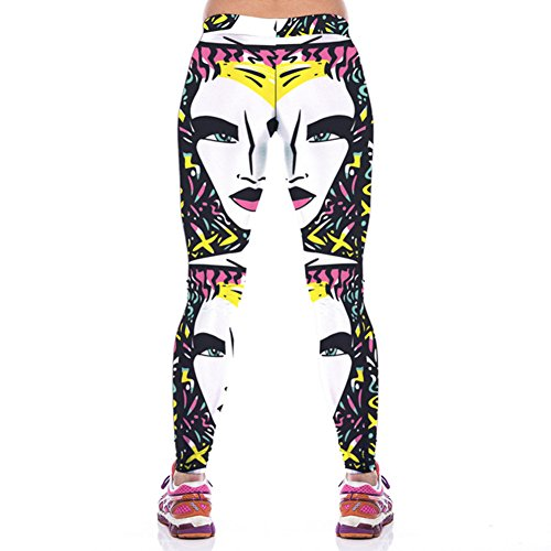 Pinkyee Mujer Esterilla de yoga patrón de Leggings pantalones de mujer