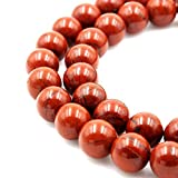 jennysun2010 Natural Red Jasper Gemstone 8mm Smooth Round Loose 50pcs Beads 1 Strand for Bracelet Necklace Earrings Jewelry Making Crafts Design Healing