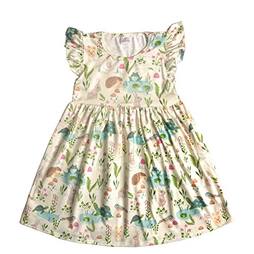CONICE NINI Baby Girl Casual Short Sleeve Dresses Cartoon Clothing for Kids Girls Spring,Summer,Camping,Party Dresses (4T, Green) ()