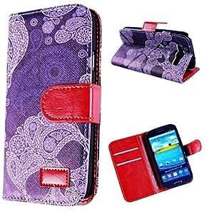 MOM Black Flower Pattern Leather Case for SAM S3 I9300