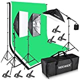 Neewer® 8.5x10ft/2.6x3M 2400W 5500K Background Support System with Three 6x 9ft/1.8x2.8M Backdrop Lighting Kit for Photography Video Studio Shooting