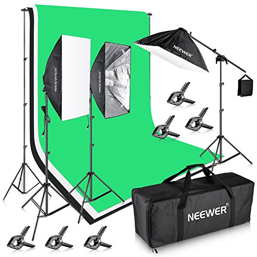 Kit Standard Lighting (Neewer 8.5x10ft/2.6x3M Background Support System with Three 6x 9ft/1.8x2.8M Backdrop 2400W 5500K Lighting Kit for Photography Video Studio Shooting)