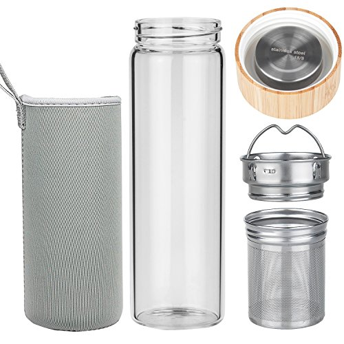 ORIGIN Best BPA-Free Fruit and Tea Infuser Borosilicate Glass Water Bottle with Neoprene Sleeve and Bamboo Lid, Double Mesh Filter, Travel Tumbler 20oz from ORIGIN