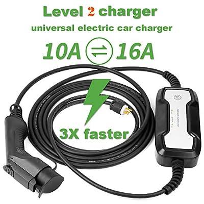 lefanev Level 2 EV Charger Cable (110-240V, 10/16A, 25FT) Portable EVSE Electric Vehicle Charging Station for Chevy Volt,Tesla Model and All Type 1 (SAE J1772 Standard
