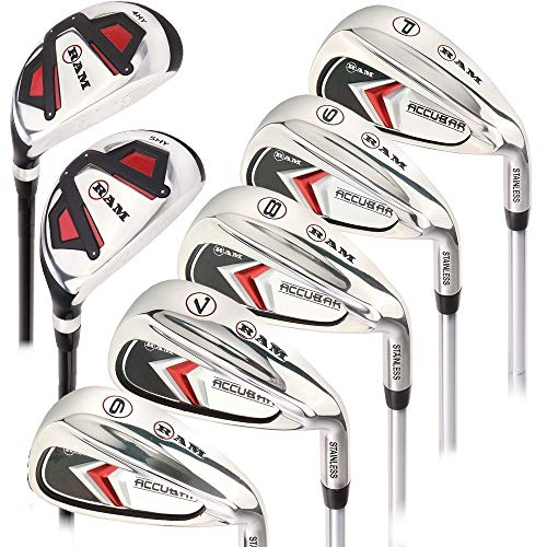 Hybrid 9 Iron - Ram Golf Accubar Mens Clubs Iron Set 6-7-8-9-PW with Hybrids 24° and 27° - Mens Right Hand