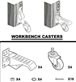 [New Version] ProCaster Workbench Caster Kit | Move up to 500 lbs | Pack of 4 | Durable Heavy Duty Steel and Wheels Material