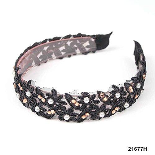 Haarreif in Schwarz mit blumiger Stickerei, Perlen und Strass-Steinen, Breite 2,7 cm