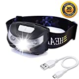 USB Rechargeable LED Headlamp , HFAN Headlight 1X White, 2X Red Super Bright, Waterproof, Lightweight Headlamps with SOS for Running, Walking, Camping, Reading, Hiking, Outdoor sports etc