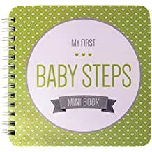 """NEW! Baby First Year Memory Mini Book. Minty Green """"Modernista""""(TM), Poly Cover Hand Made. Intimate, travel size memory keeper record book and journal for Boy or Girl. 5x5"""" - Best Shower Gift!"""