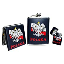 Black Polska Eagle on Flag Flask, Cigarette Case & Lighter Set