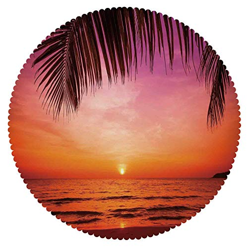 iPrint Round Tablecloth [ Tropical Decor,Exotic Sunset Above Sea Scene from Coconut Palm Tree Leaf Heaven Picture,Pink Orange ] Decorative Tablecloth Ideas